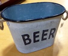 Grey Rustic Shabby Chic Vintage Metal BEER Bucket Drinks Ice Garden Party Cooler