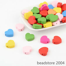 50pcs Mixed Dyed Heart Wood Beads Children Jewelry Making Lead Free 18x18x6mm