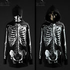 ByTheR Skull Halloween Hoodie Pull over Zipper Skeleton Printed Jacket P0000TAN