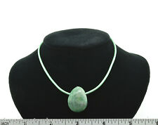 """Tree Agate 22"""" Green Leather Cord 1.5mm Necklace SS Hook Clasp A013-3 Negative"""