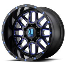 20 Inch Black BLUE Wheels Rims LIFTED Chevy 2500 3500 Dodge RAM Truck 20x10 XD