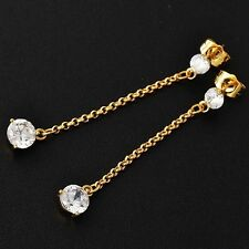 Womens White Gemstones Dangle Long Chain Earrings 24K Yellow Gold Filled Jewelry