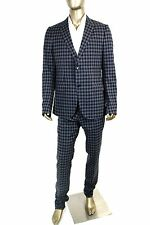 $3250 New Gucci Men's Black Blue Check Wool Suits IT 52 L /US 42 L 336717 4772