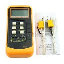 Digital Thermometer 2 K-Type Dual Two Channel Thermocouple Sensor Probe Tool New