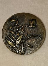 Vintage Metal Brass tone Collectible Sewing Button Paris Brevete Co Butterfly