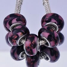 womens 5Pcs purple murano glass silver plated charm beads Fit european Bracelet