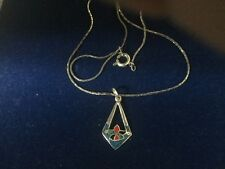 Art Deco Silver And Enamel Angular Form Pendant With Mosaic Style Detail
