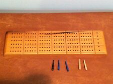 Vintage McCrillis HORN Wooden Cribbage Board with Peg Storage Made in USA