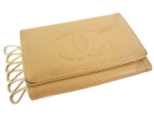 Auth CHANEL Vintage CC Logos Caviar Skin Leather 6 Hooks Key Case Beige 13652e