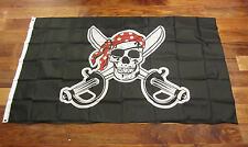 1 PIRATE FLAG JOLLY ROGER RED BANDANA PIRATES BANNER 3' X 5' SKULL CROSSBONES