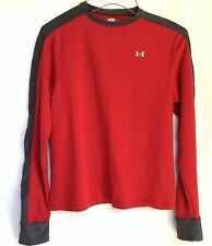 UNDER ARMOUR Men's Small L/S Compression Shirt Base Layer Red Gray UA S Running