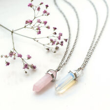 Pink Rose Quartz Crystal Bullet pierre necklace-vintage Argent-jewellery-healing