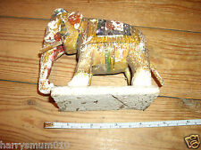 Victorian ? antique carved wood painted India Indian elephant