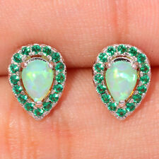**NEW* SILVER FILLED GREEN LAB FIRE OPAL/EMERALD TEAR DROP STUD Earrings 11x8mm