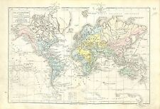 Planisphère World Thematic maps projections Earth  MAP CARTE ATLAS 1882
