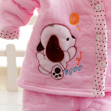 2pc Baby Girl boy Newborn Clothes Winter Warm Outfits & Sets Dog Pink 0-4M