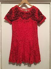 Free People Red Lace Flapper Vintage Style Drop Waist Dress W/Slip Size Small S