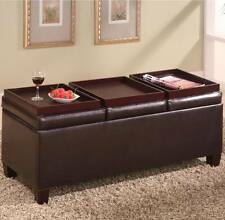 Dark Brown Faux Leather Storage Ottoman with Reversible Trays by Coaster 501036