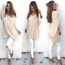 Womens Fluffy Sweater Knitted Loose Jumper Mini Dress Pullover Hoodie Tunic Tops