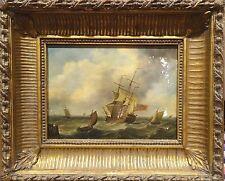 Fine 18th Century British Navy hombre o Pintura al Óleo Marina De Guerra Antiguo Thomas Luny