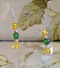 Chic Traditional Xmas Amber Green Silver Dangle Acrylic Crystal Pierced Earring