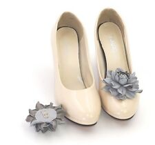 GENUINE LEATHER gray roses shoe clips   Pumps flowers, leather shoe decoration