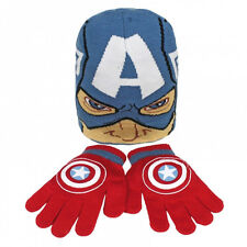 MARVEL CAPTAIN AMERICA BEANIE HAT & GLOVES KIDS WINTER SET OFFICIAL GIFT