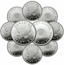 1 oz Sunshine Silver Round (New, MintMark SI, Lot of 10)