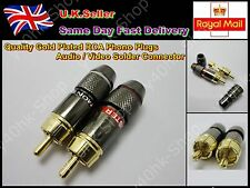 2 pcs Quality Gold Plated RCA Phono Plugs Audio/Video Solder Connector