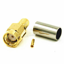 10PCS RP-SMA Male (Female Pin) Jack Crimp for RG58 RG400 LMR195 RF Connector