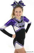 Purple Black Big Cheer Bow Zebra Girl Cheerleader Ponytail Holder Hair Accessory