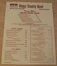 "RARE ca 1960's Dinner Menu~""KINGS COUNTY BOWL""~Hanford CA~BOWLING ALLEY~"