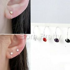 1pc Creative U Shaped Ear Studs Shiny Rhinestone Crystal Ear Clip(Random Color)