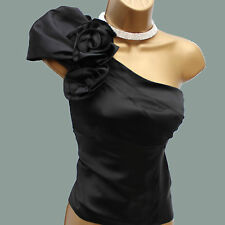 KAREN MILLEN BLACK ONE SHOULDER CORSAGE SILK COCKTAIL PARTY TOP BLOUSE 8 UK