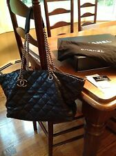 CHANEL Black Quilted Calfskin Charm Silver Chain Handbag Shopping Tote Leather