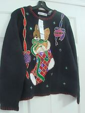 Victoria Jones Knit Sweater Black with Yellow cat in a stocking beads sequins XL