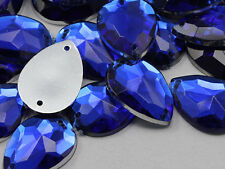 18x13mm Blue Sapphire CH09 Teardrop Flat Back Sew On Craft Gems 50 PCS