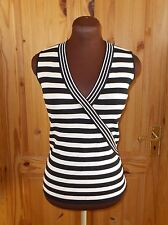 WALLIS black cream v neck striped knitted stretch sleeveless tunic vest top 14