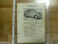 FO03A-FORD  TAUNUS 1950-1951 -TECHNICAL INFO CAR CLASSIC OLDTIMER GERMANY