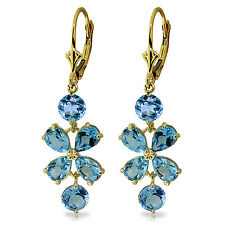 5.32 Carat 14K Solid Gold Chandelier Earrings Natural Blue Topaz