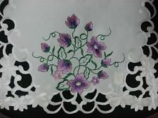 """16x72"""" Embroidered Purple Floral Table Dining Runner TableClothes Cutwork mats"""