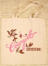"Tote Bag Western Design Natural Color with Pink and Brown ""Cowgirl Attitude"""