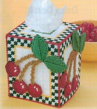CHEERY CHERRIES TISSUE BOX COVER PLASTIC CANVAS PATTERN INSTRUCTIONS