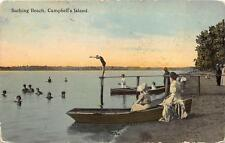 CAMPBELL'S ISLAND ILLINOIS MISSISSIPPI RIVER BATHING BEACH POSTCARD RPO 1914