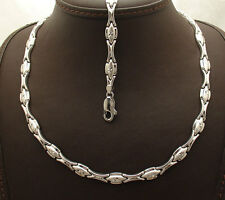 Anti-Tarnish Hugs & Kisses Bracelet Necklace Set Chain Real 925 Sterling Silver