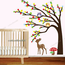 Owl Tree Deer Wall Stickers Woodland Animal Art Mural Decal Paper Nursery Decor