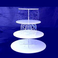 Livello quattro Cuore Design Rotondo Supporto per Torta-Bianco