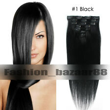 Full Head Women Clip in 100% Remy Soft Human Hair Extensions 15-22inch Straight