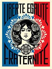 "Liberte Egalite Fraternite Screen Print Shepard Fairey Signed 18"" x 24"" OBEY"