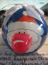 Russ Berrie Light Up Monogram Light Up Nose Ornament Santa-New with Tags